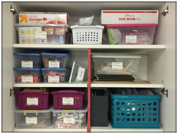 Cabinet Organization- Close up of classroom materials organized into baskets and bins.