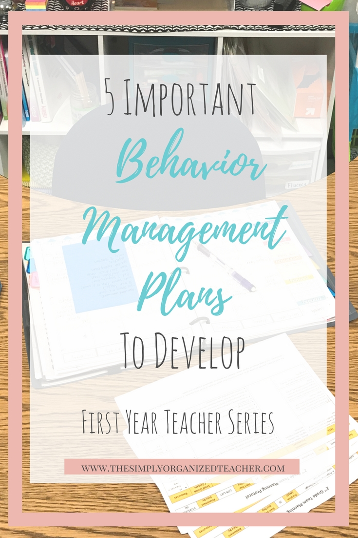 5 Behavior Management Plans to develop- whole group, small group, and individual behavior plans