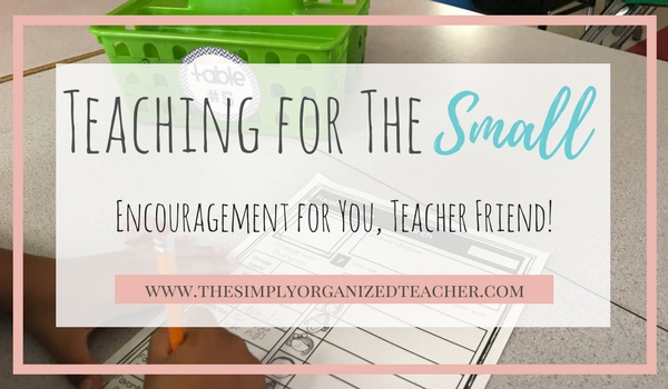 Encouragement for teachers as we look for the small things in the busyness of teaching.